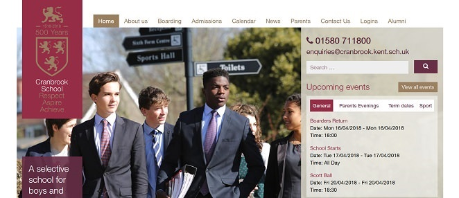Screenshot of the Cranbrook School website