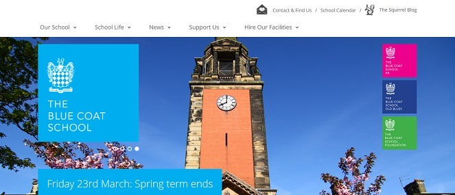Screenshot of the Blue Coat School website