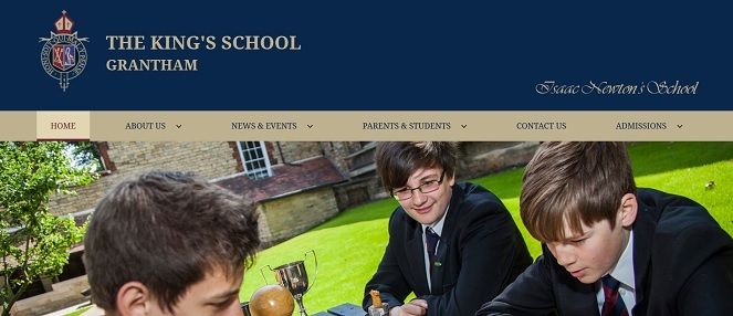 Screenshot of the King's School Grantham website