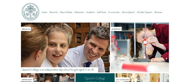 screenshot of the Queen's College London website