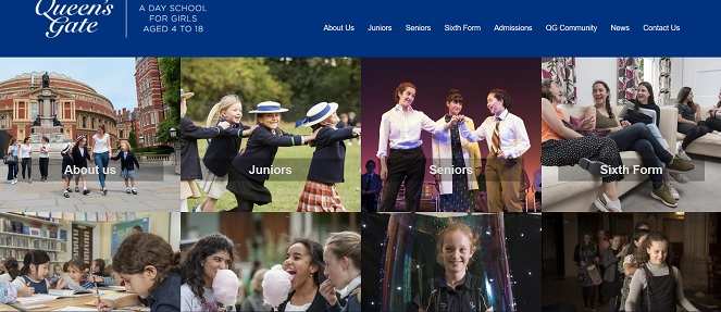 screenshot of queens gate school website