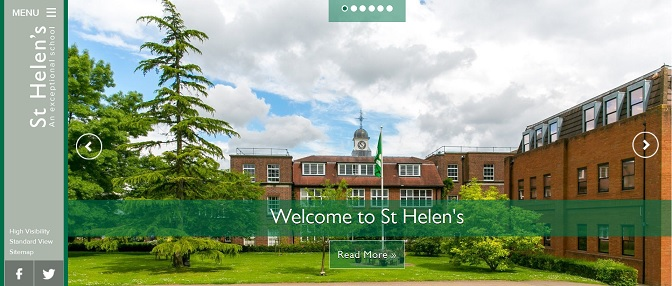 screenshot of St Helen's School London website