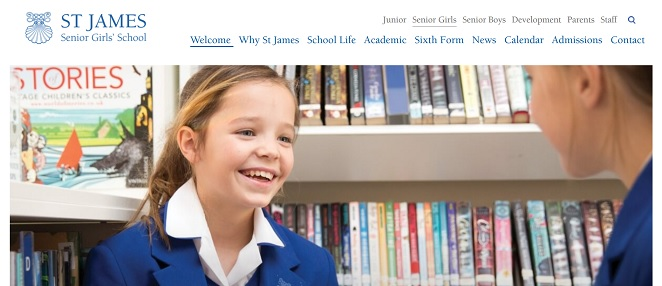 screenshot of the St James Senior Girls School website