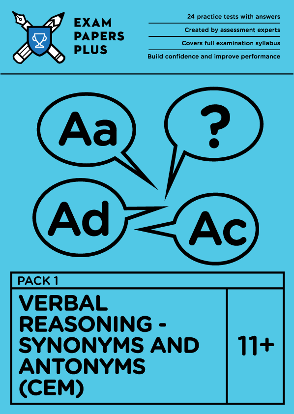 11+ Verbal Reasoning (CEM) Synonyms and Antonyms Pack 1