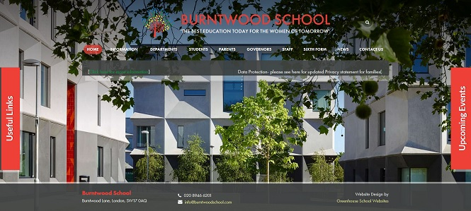 Screenshot of Burntwood School website