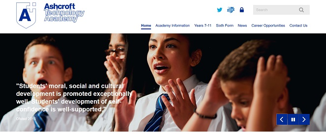 Screenshot of Ashcroft Technology Academy website