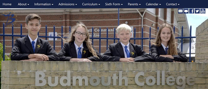 Screenshot of Budmouth College website