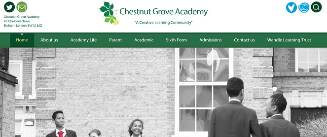 Screenshot of the Chestnut Grove Academy website