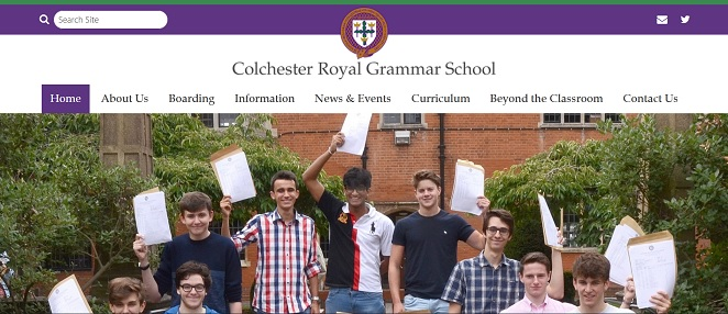 Screenshot of the Colchester Royal Grammar School website