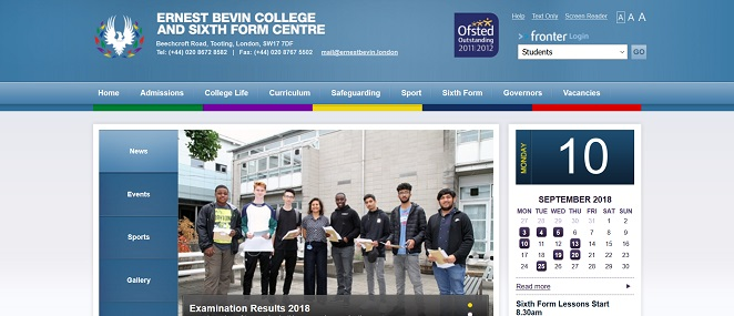Screenshot of the Ernest Bevin College website