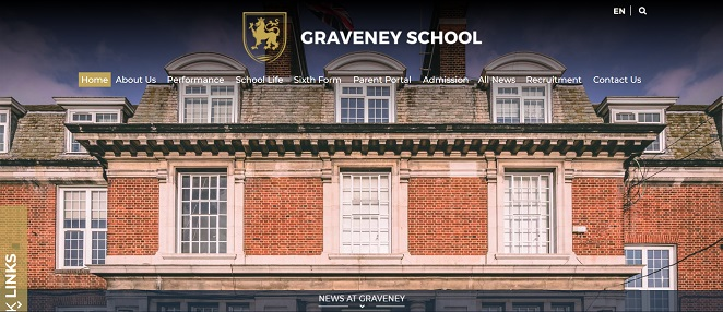 Screenshot ot the Graveney School website