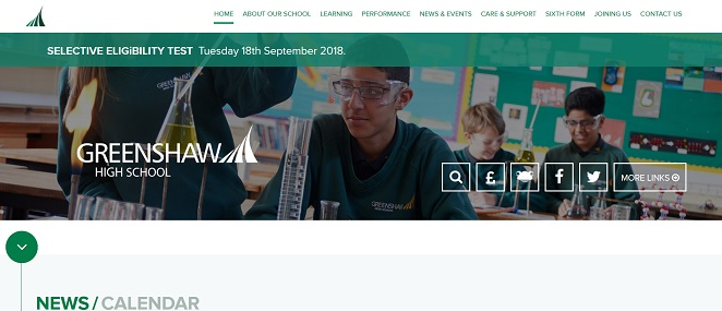 Screenshot of Greenshaw High School website