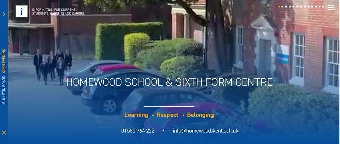 Screenshot of Homewood School website