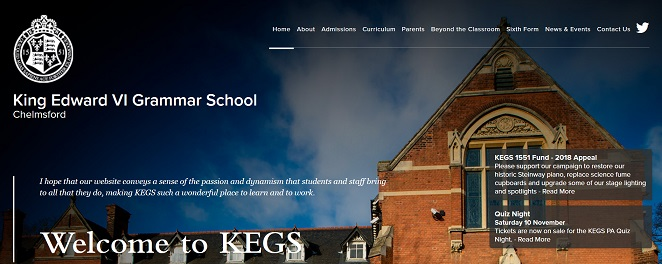 Screenshot of the King Edward VI Grammar School Chelmsford