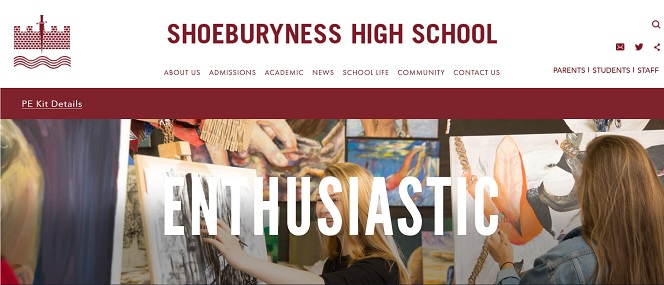 Screenshot of the Shoeburyness High School, Essex website