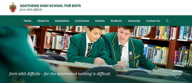 Screenshot of the Southend High School for Boys website