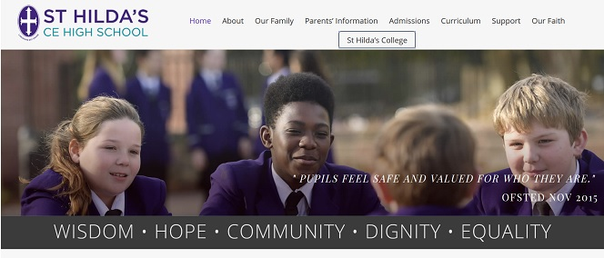 Screenshot of St Hilda's School website