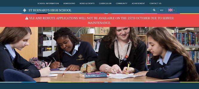 Screenshot of the St Bernards High School website