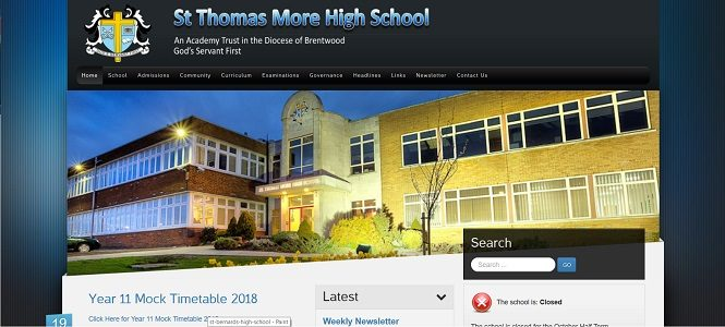 Screenshot of the St. Thomas More High School website