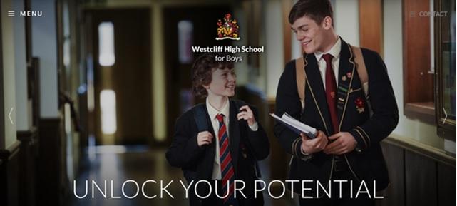 Screenshot of Westcliff High School for Boys website