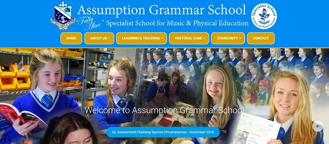 Screenshot of the Assumption Grammar School website