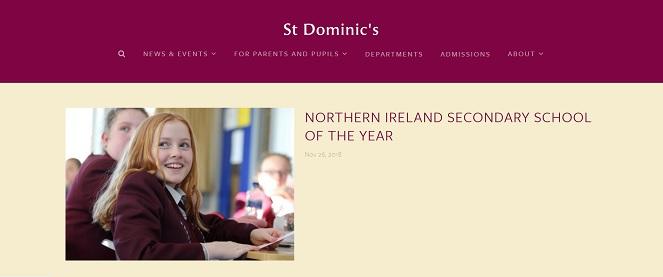 Screenshot of the St. Dominic's Grammar School website