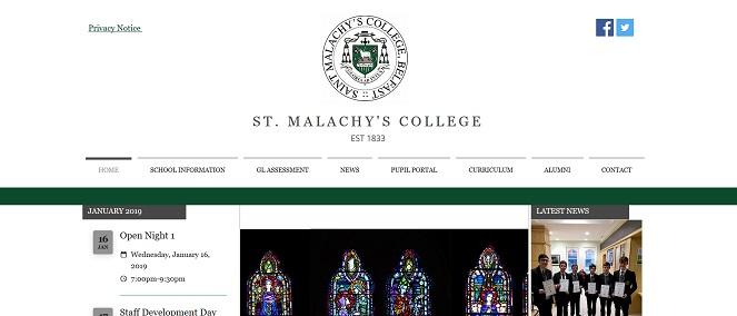 Here's wScreenshot of the St Malachy's College, Belfast website