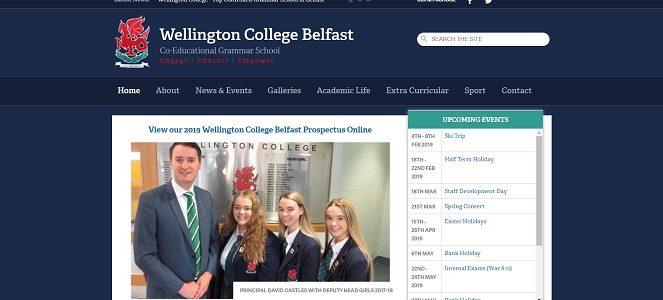 Screenshot of the Wellington College Belfast website